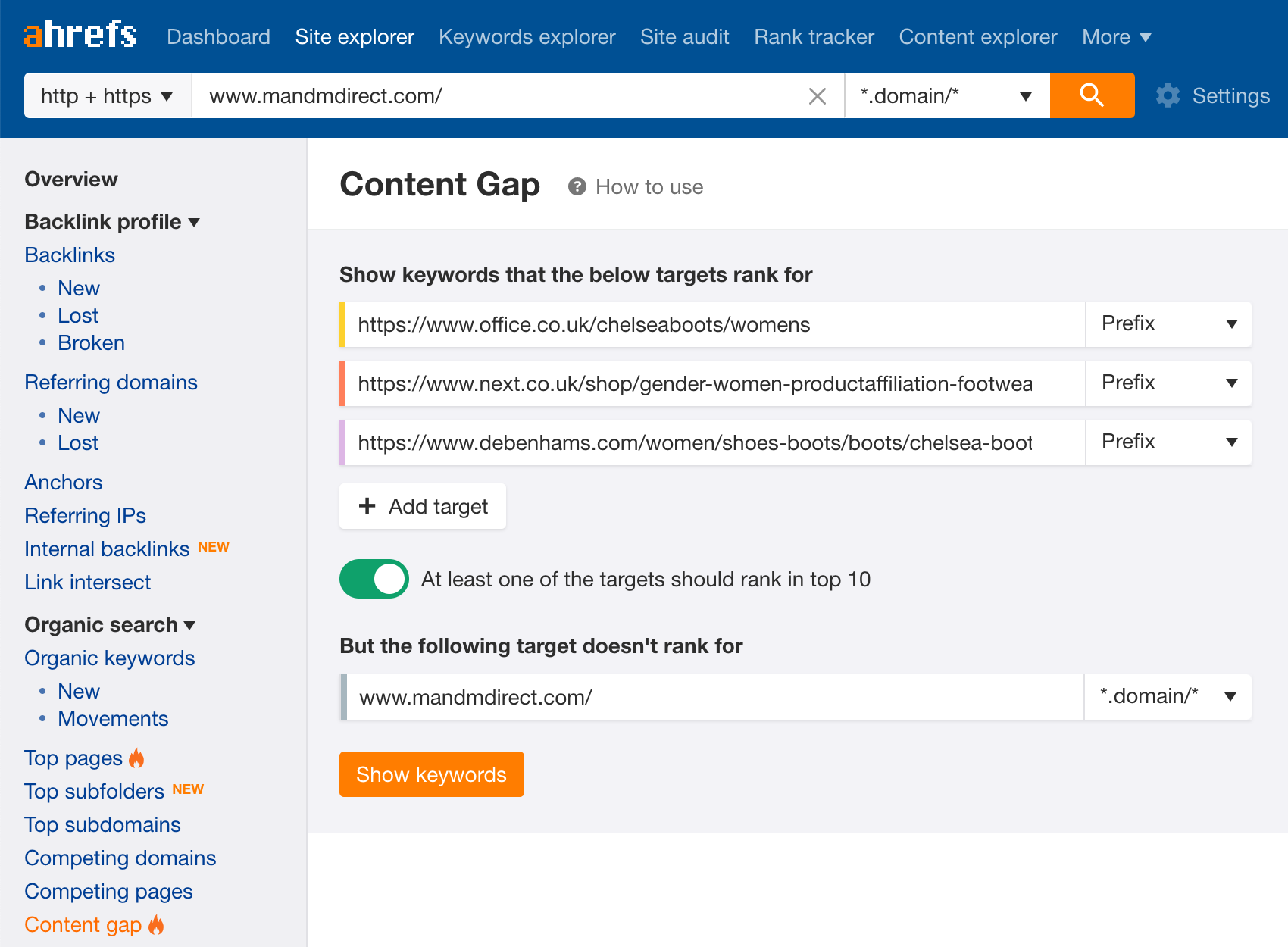 Content gap analysis for URL in Ahrefs.
