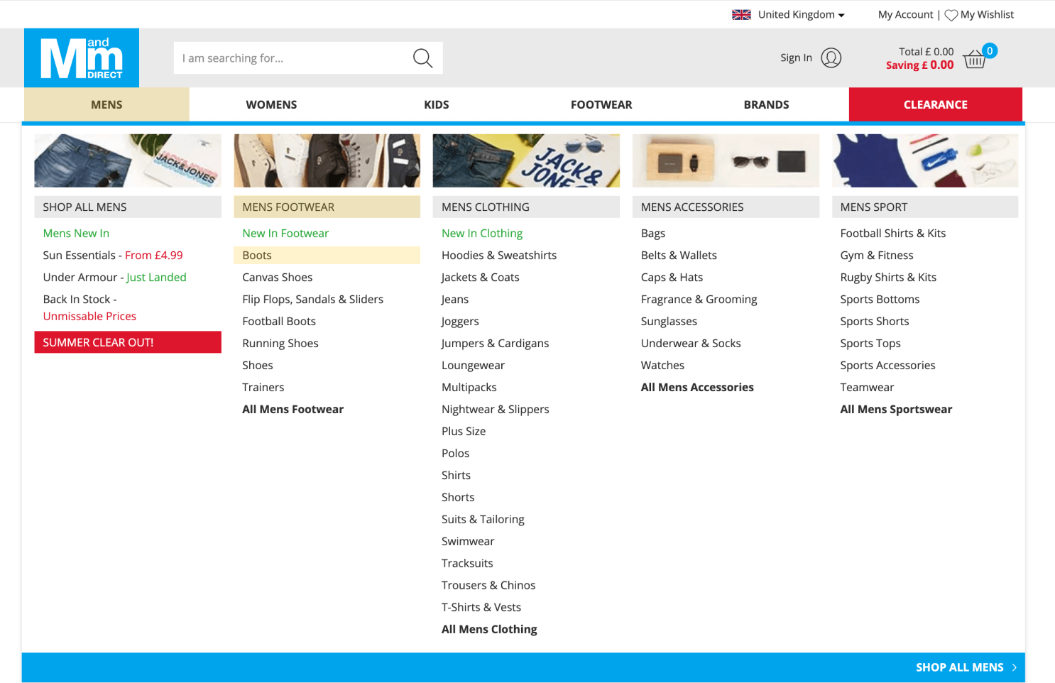 MandM Direct menu with product categories highlighted.