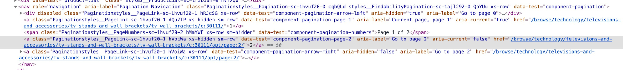 HTML code for pagination with href links highlighted.