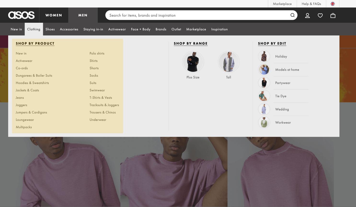 Ecommerce website screenshot with product menu highlighted.