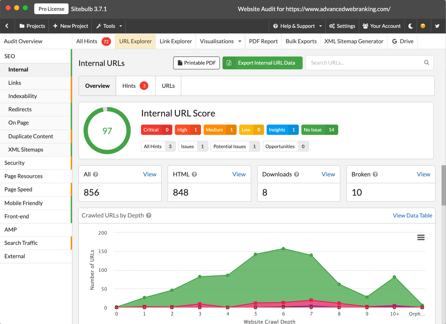 Sitebulb Internal report with URL Explorer highlighted.