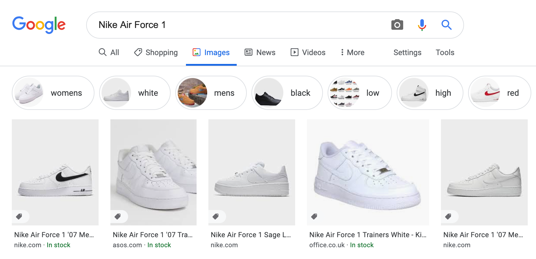Google Image results with stock structured data.