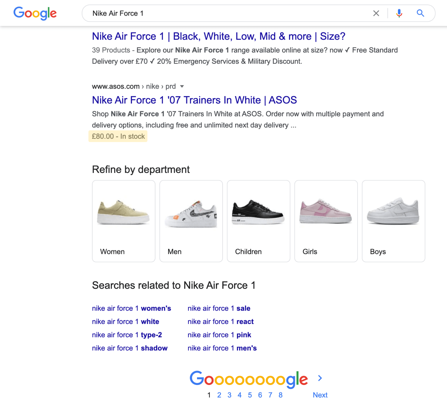 SERP screenshot with the price and stock structured data highlighted.