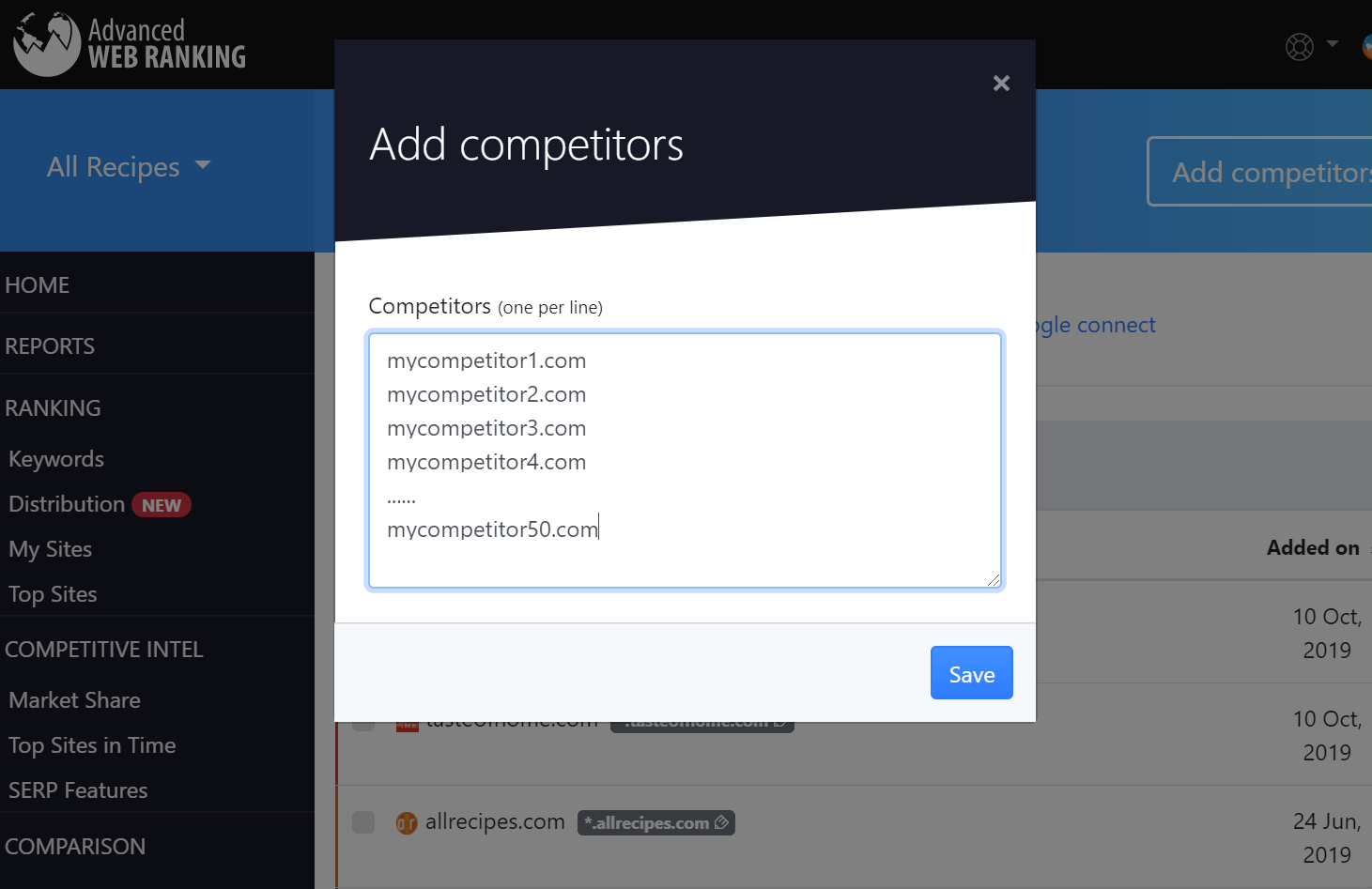 Adding competitors for tracking in Advanced Web Ranking projects.