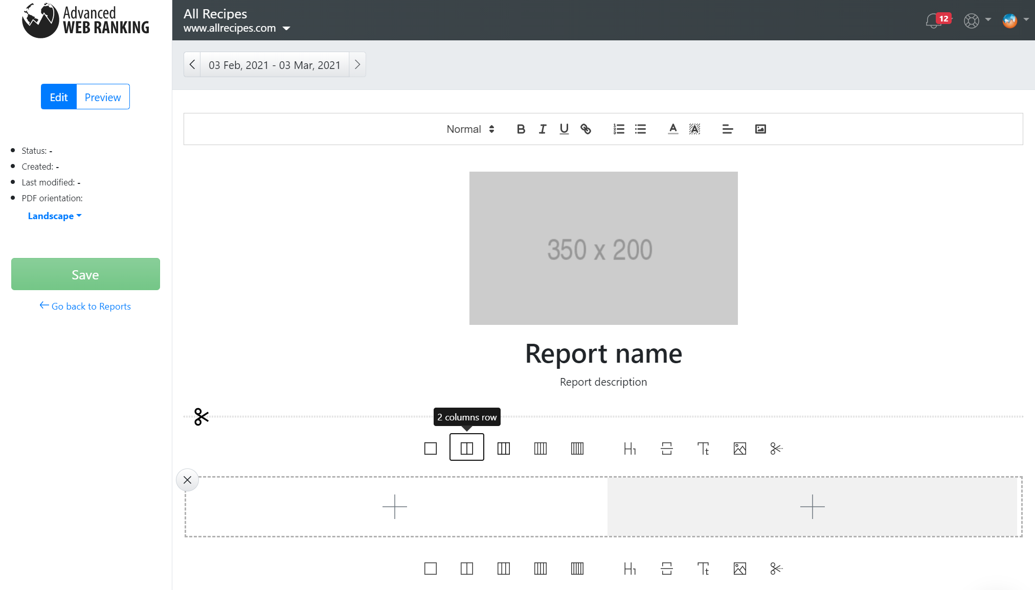 Custom report creation in Advanced Web Ranking using its WYSISYG report editor.