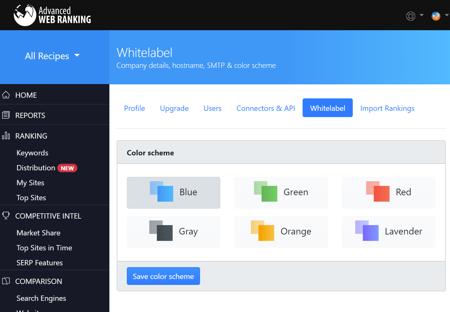 Color schemes available in Advanced Web Ranking for UI customization.