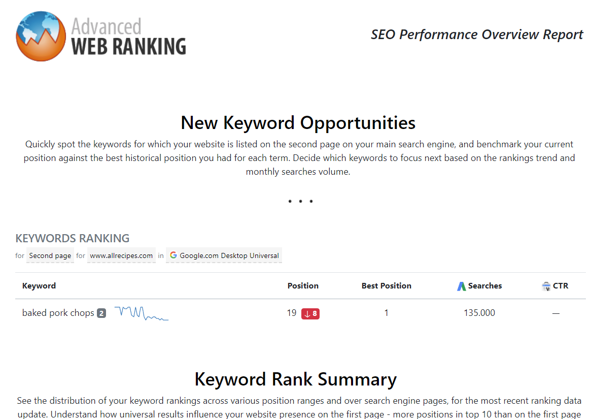 Advanced Web Ranking report customized with business logo and tailor-made notes for clients.