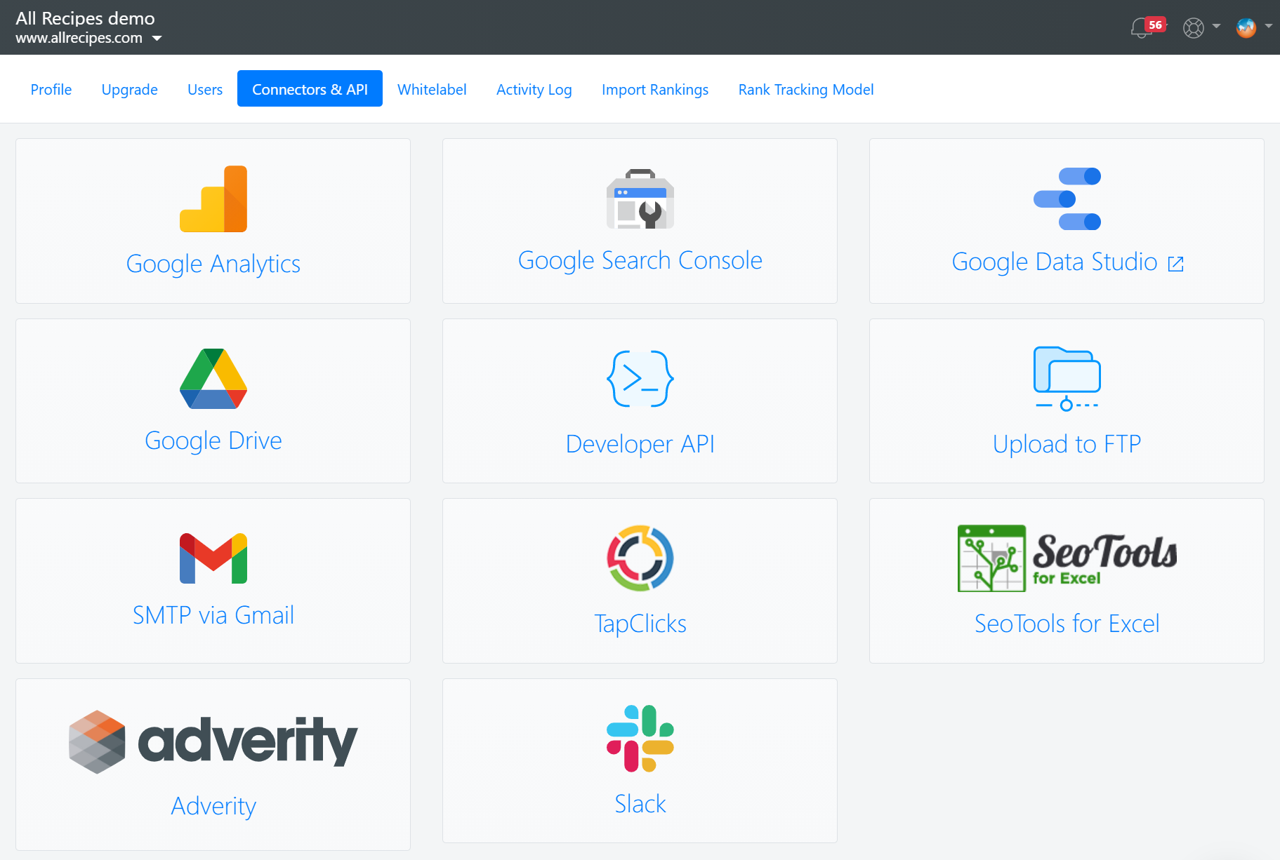 Integrations and connectors available in Advanced Web Ranking.