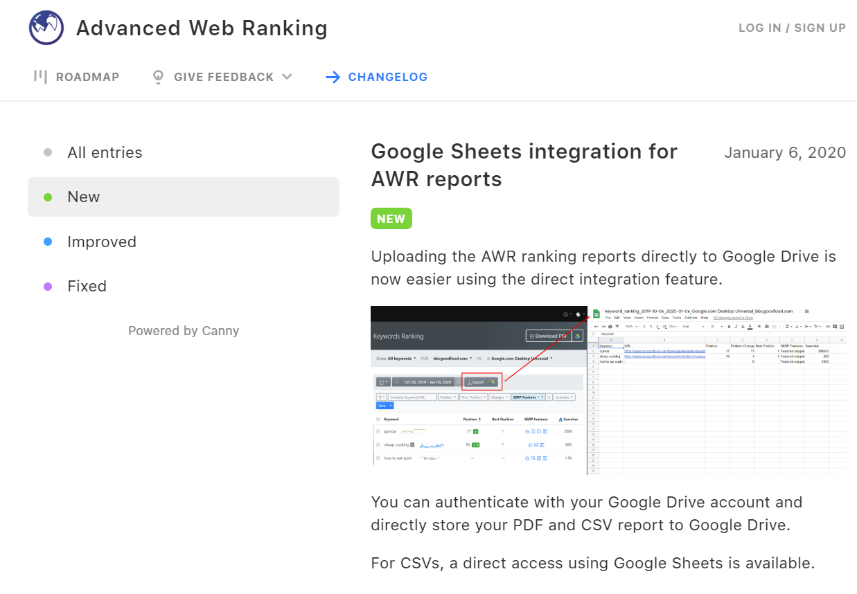 The Advanced Web Ranking product roadmap and changelog are publicly available.