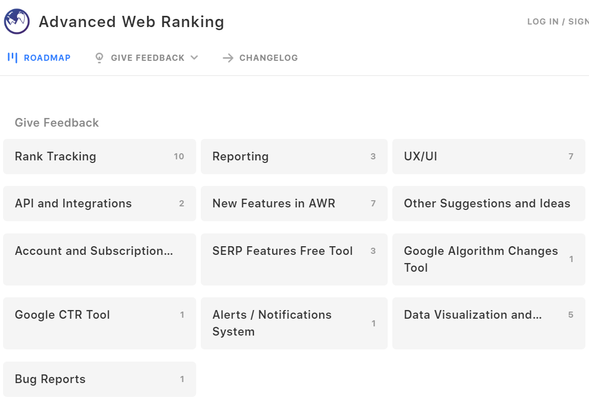 The public product roadmap dashboard of Advanced Web Ranking.