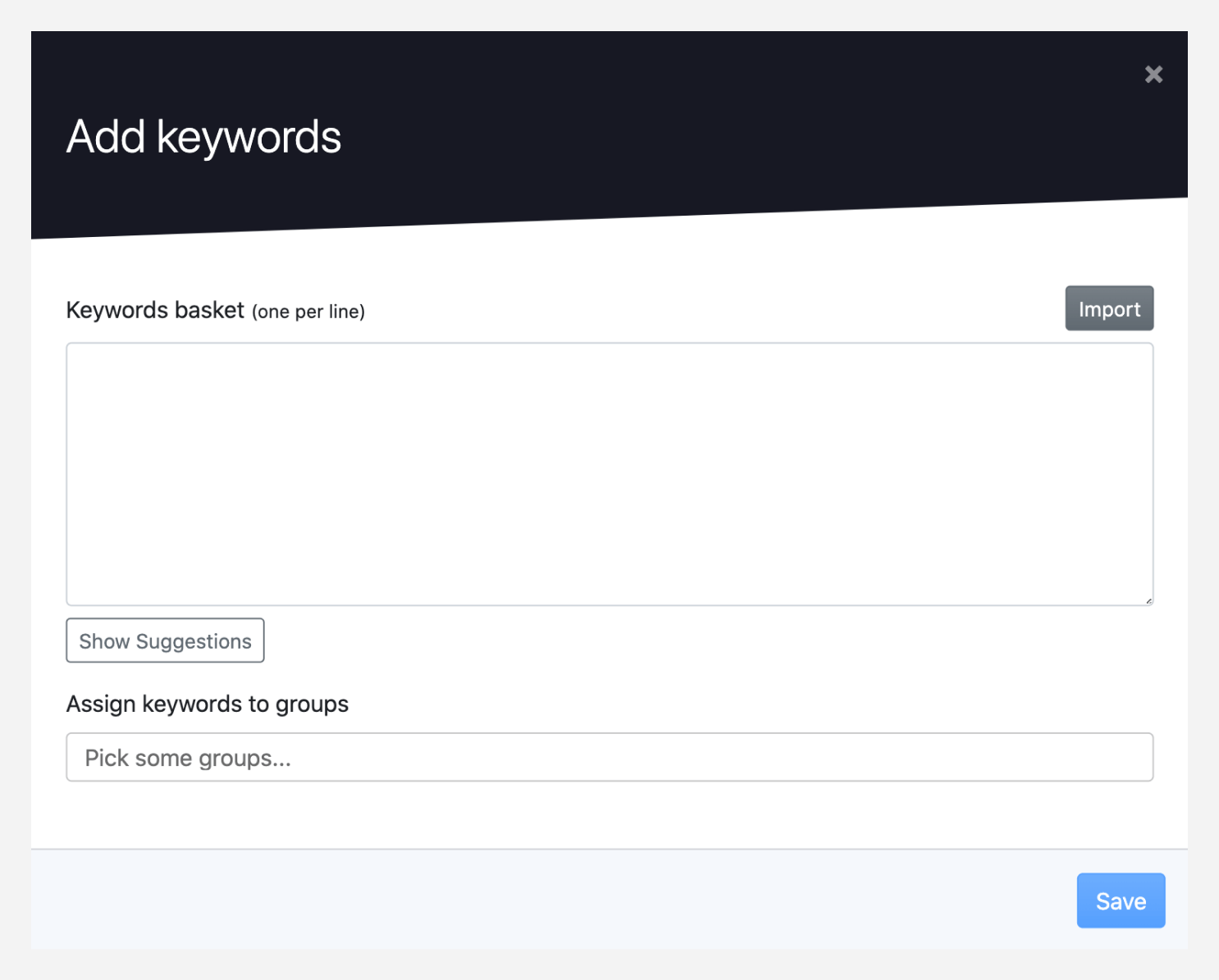 Keywords input for tracking inside Advanced Web Ranking.
