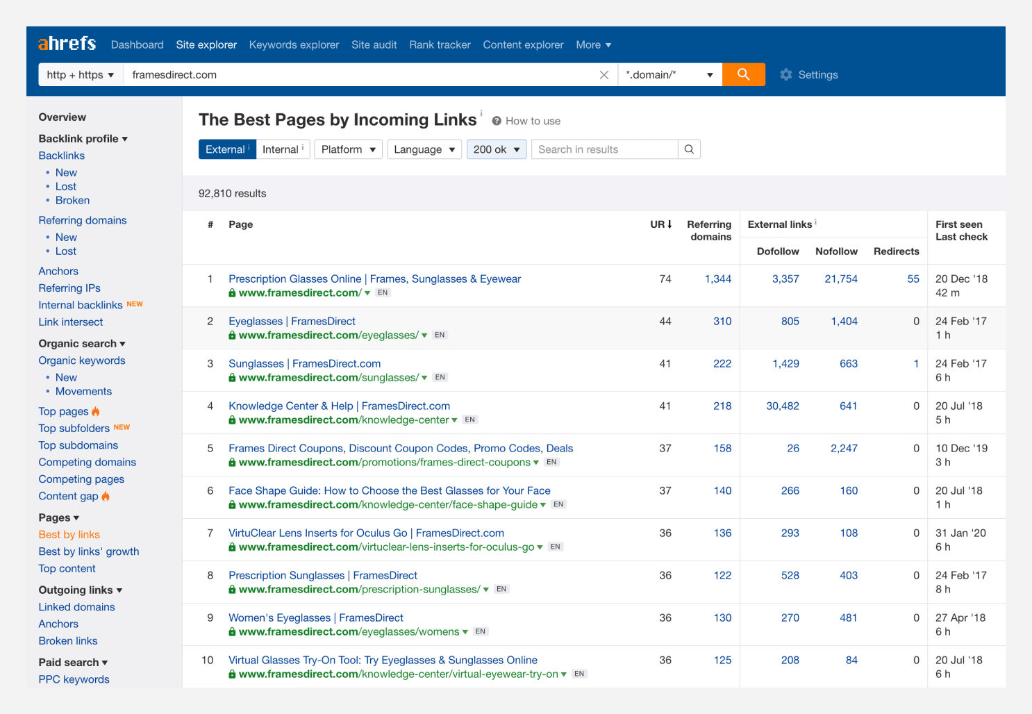 Screenshot of Ahrefs Best by links report.