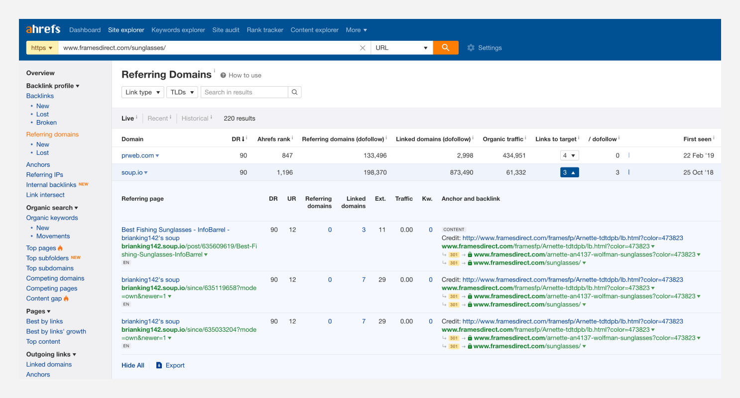 "Ahrefs screenshot highlighting the ""Referring domains"" report results."