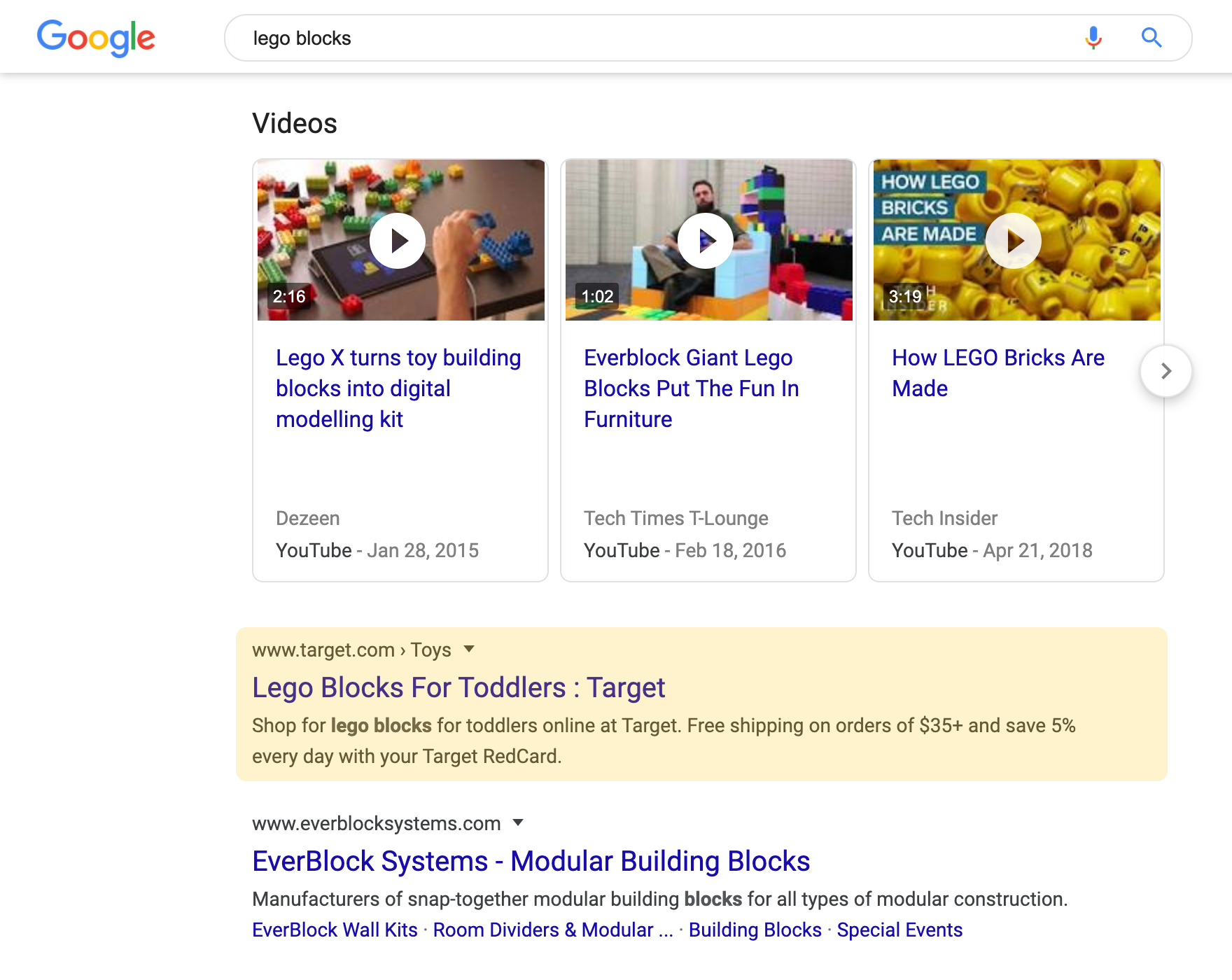 Regular Organic search result on a desktop device