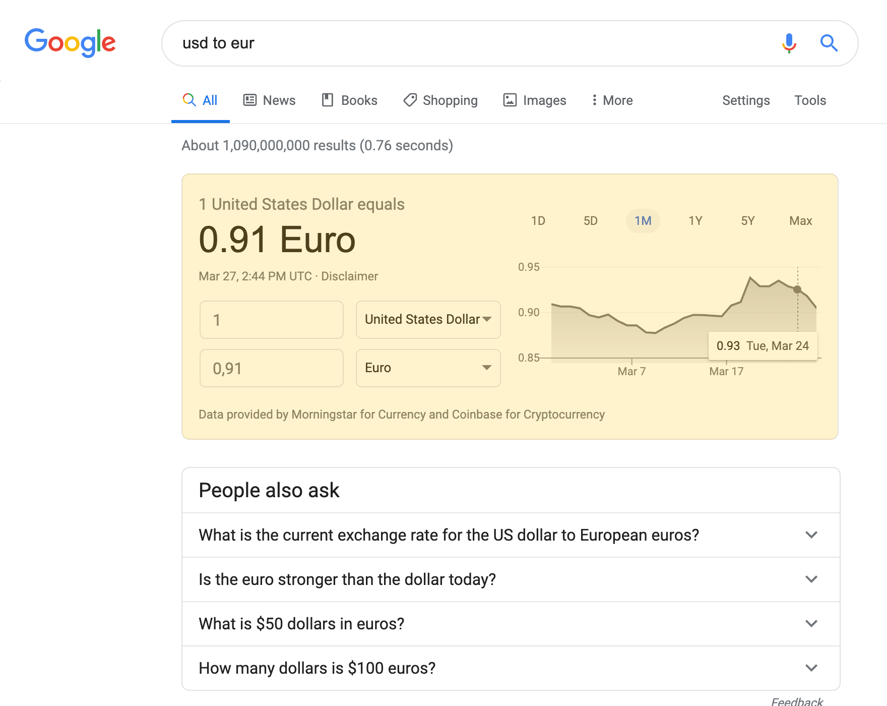 Currency Converter search result on a desktop device