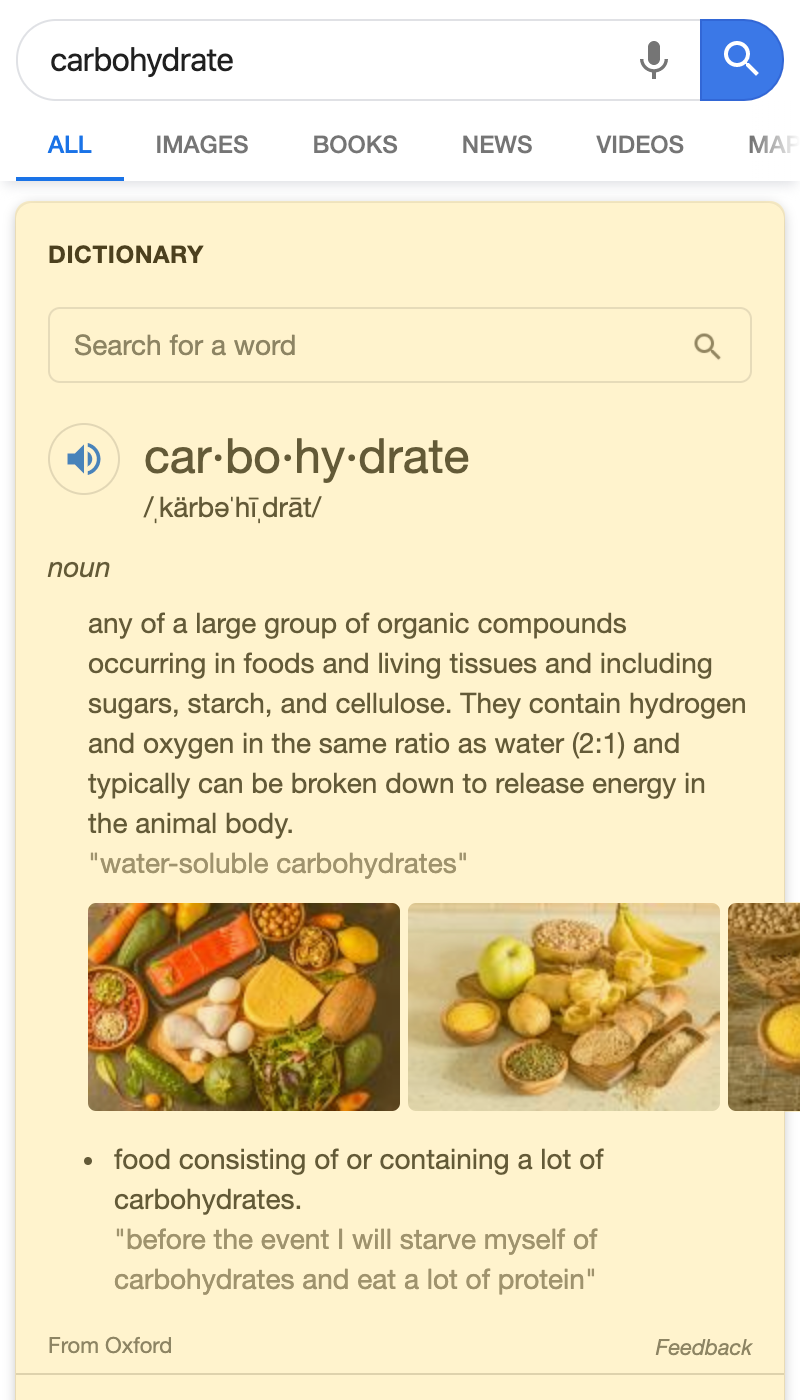 Dictionary Box search result on a mobile device