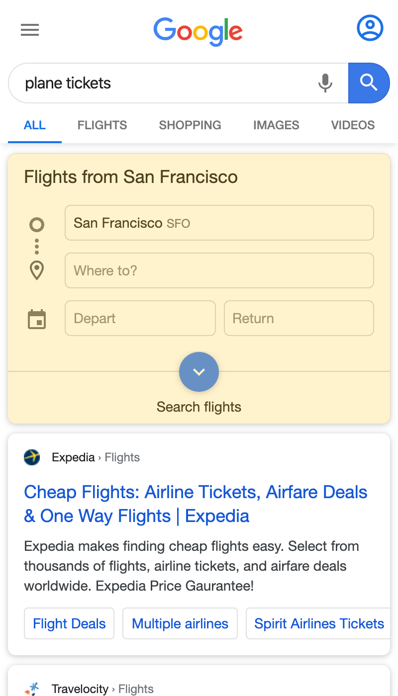 Google Flights search result on a mobile device