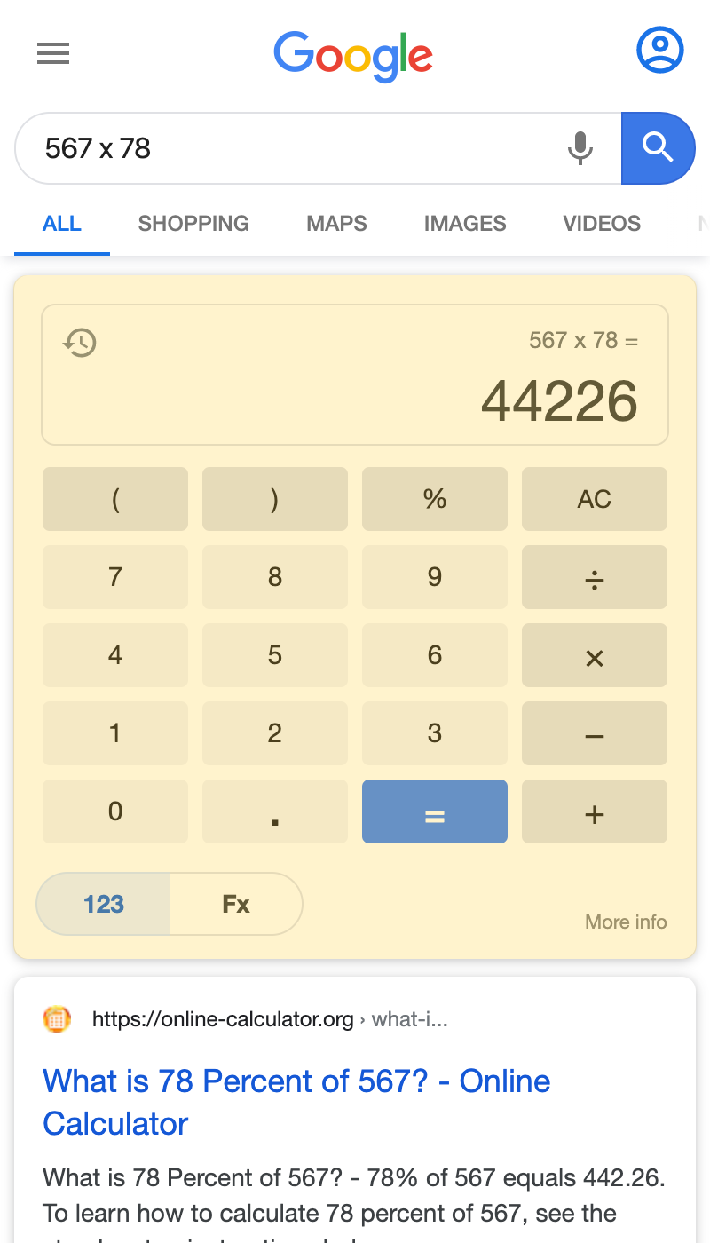 Math Calculator search result on a mobile device