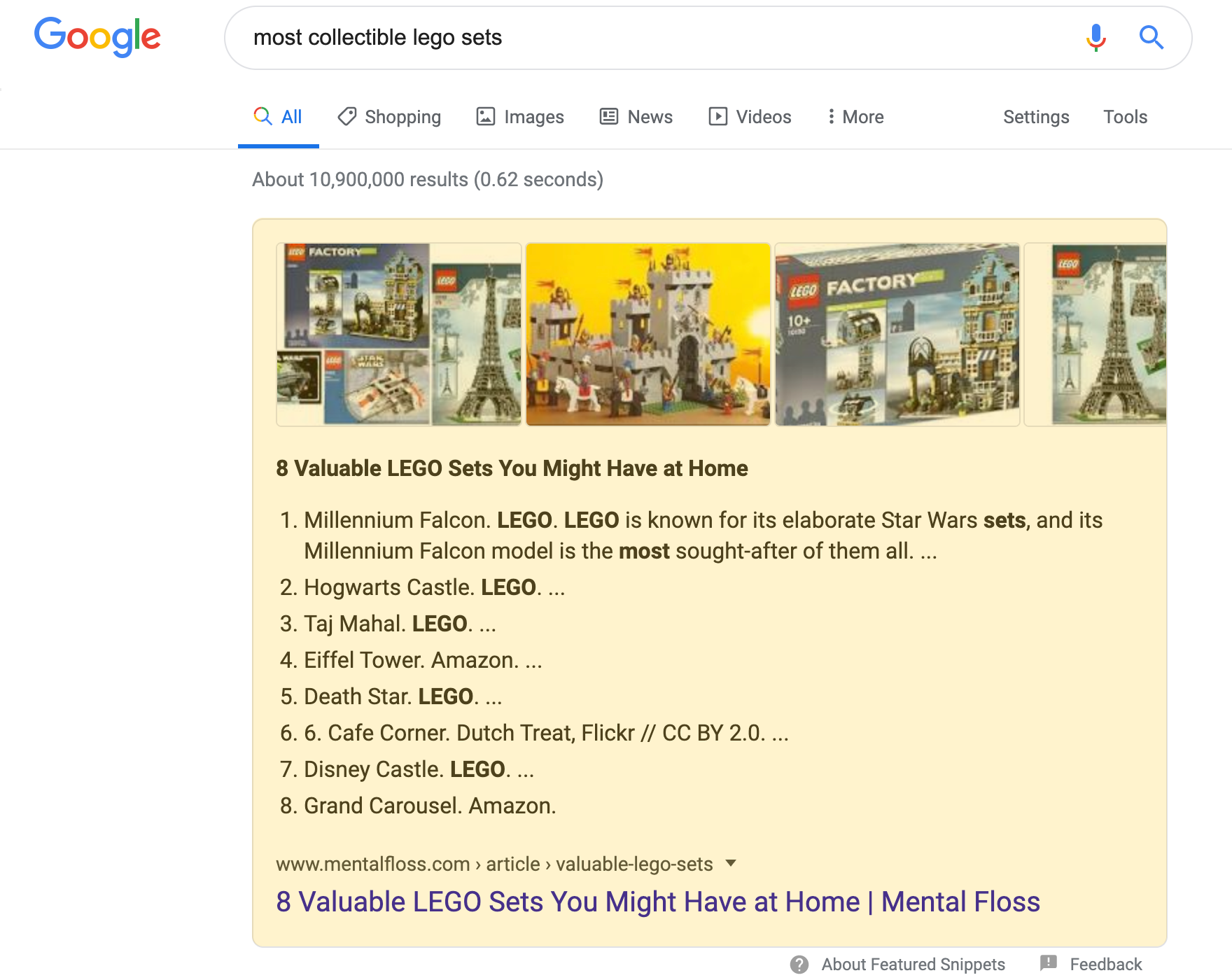Numbered Featured Snippet search result on a desktop device