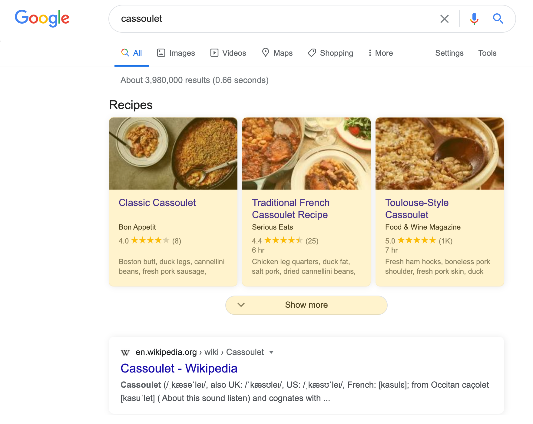 Recipe Cards search result on a desktop device