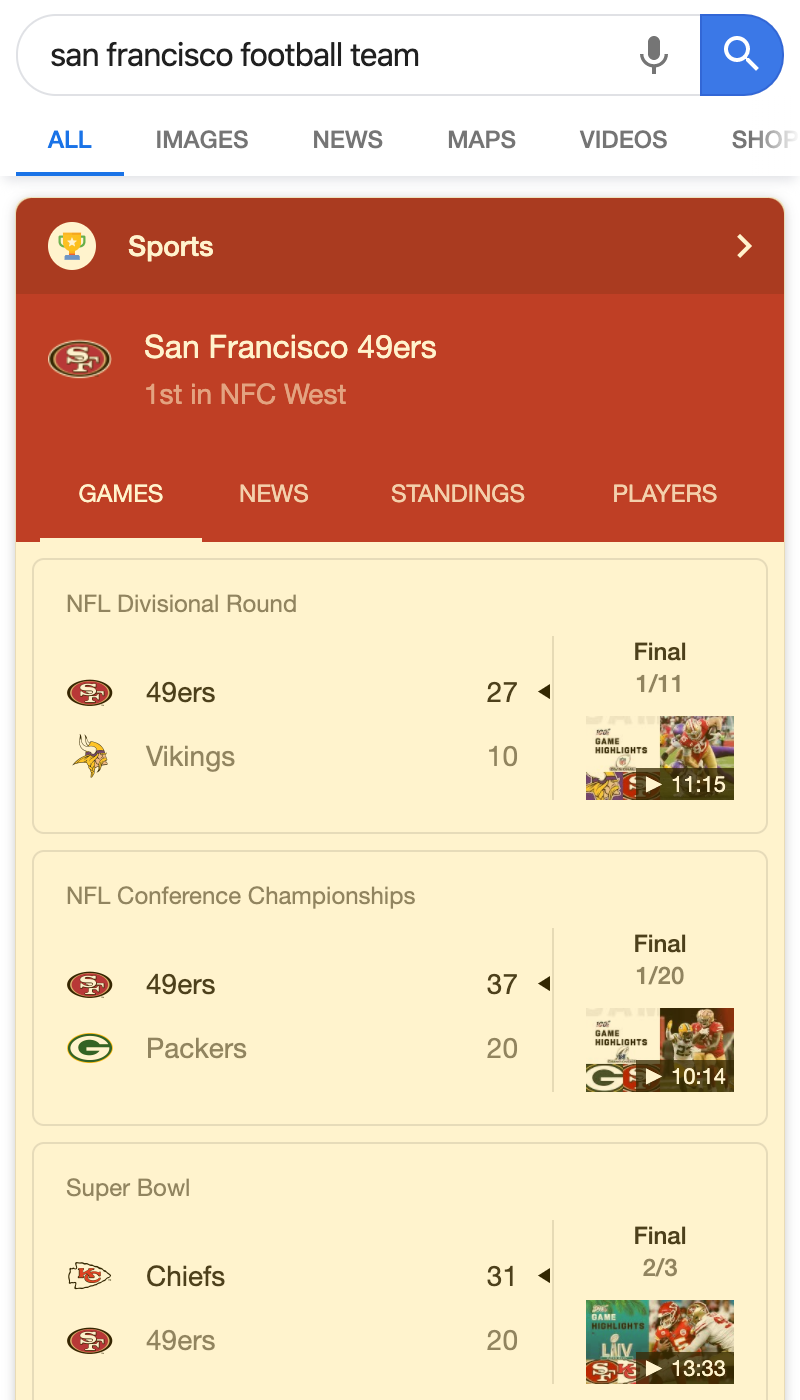 Sports Box search result on a mobile device
