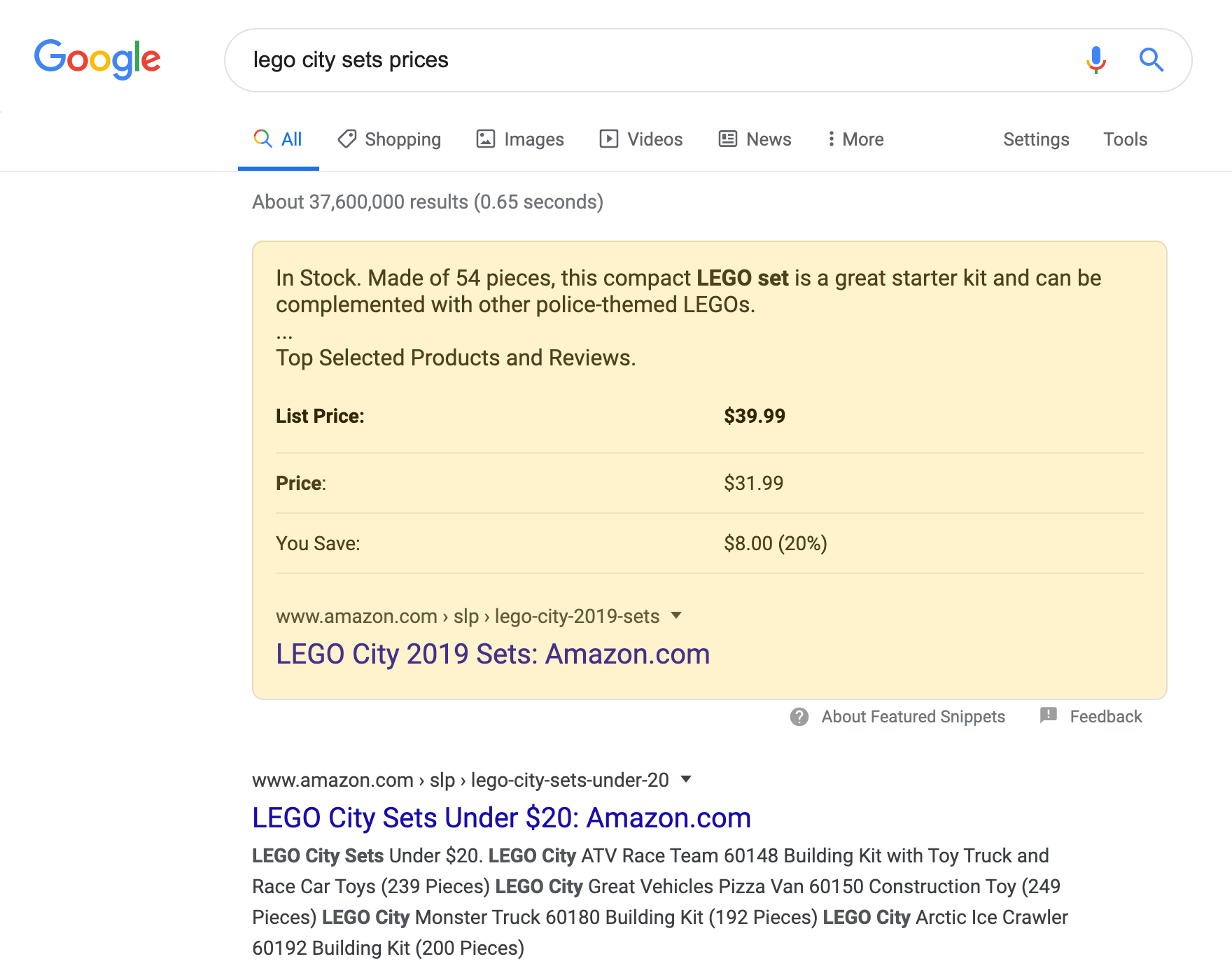 Table Featured Snippet search result on a desktop device