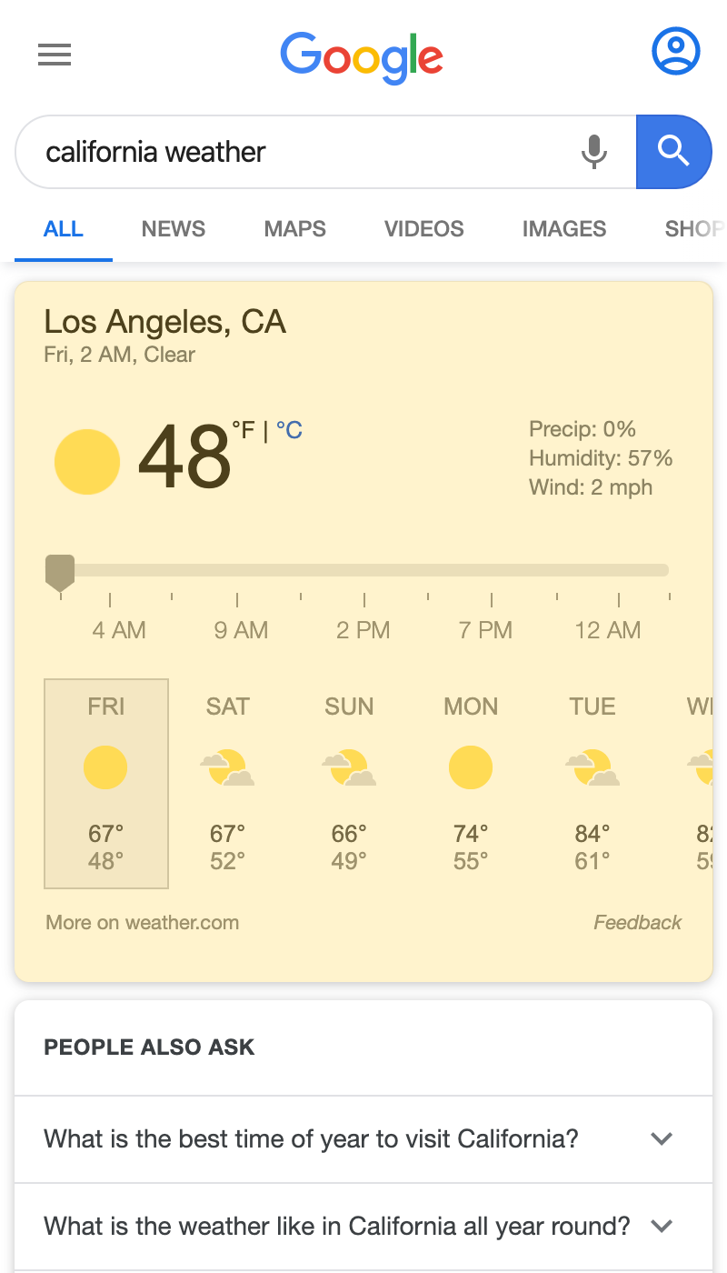 Weather Box search result on a mobile device