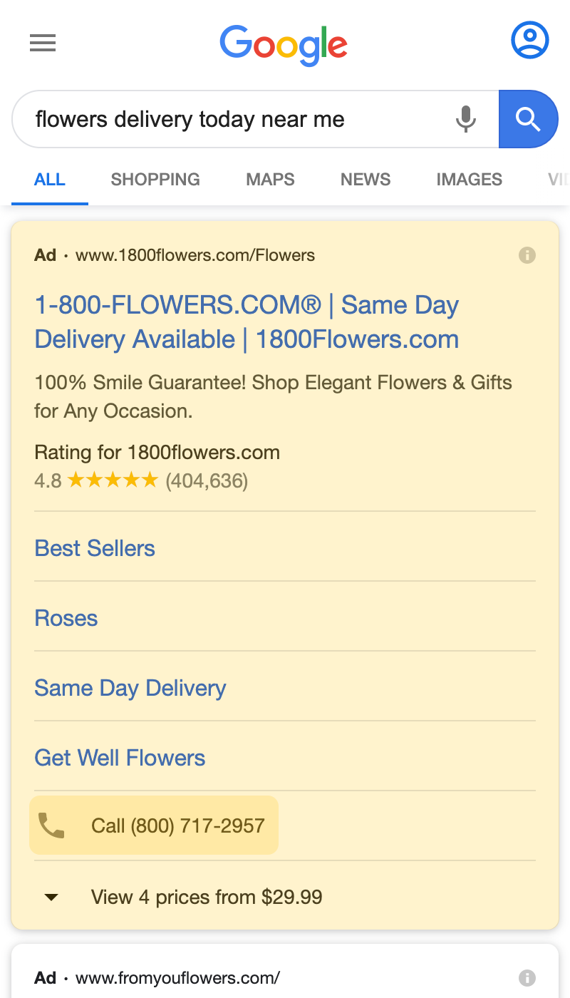 Call Only Google Ad search result on a mobile device