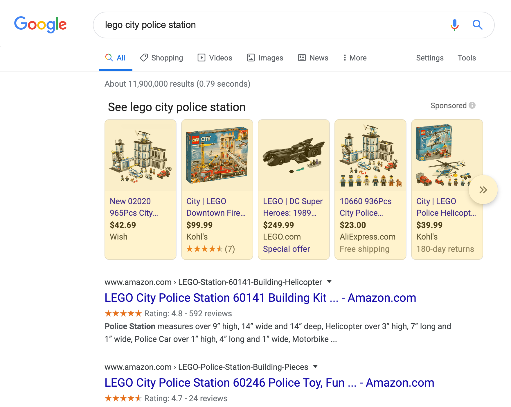 Google Shopping search result on a desktop device